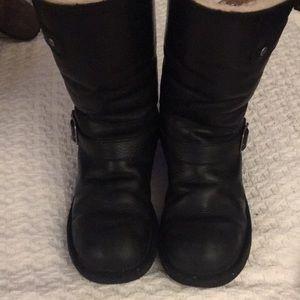UGG biker winter boots soft black leather